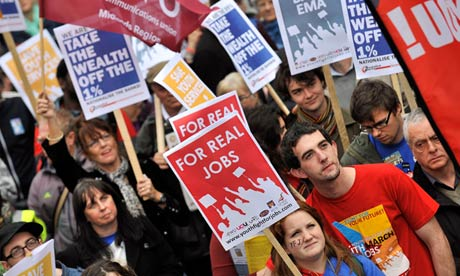 Protesters march for jobs in London in 2011. Photograph: Andy Rain/EPA