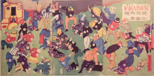Allegory of the New fighting the Old in early Meiji Japan, circa 1870.